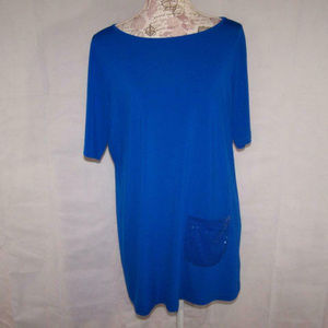 Joan Rivers Tunic Top M Stretch Short Sleeve Blue